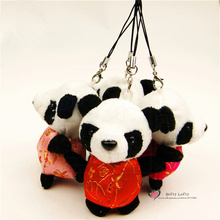 Free shipping Cute Panda Plush toys Keychains hangers Chinese Traditional Tang Suits Stuffed animals Kung kids birthday fu gifts
