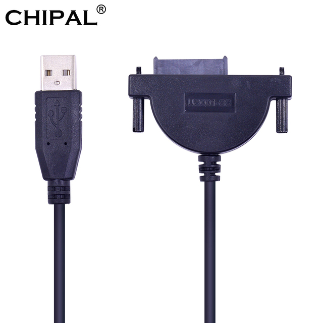 CHIPAL LED Indicator USB 2.0 to 7+6 13Pin Mini SATA II Cable Adapter for Notebook CD-ROM DVD-ROM for HDD Caddy Slimline Drive