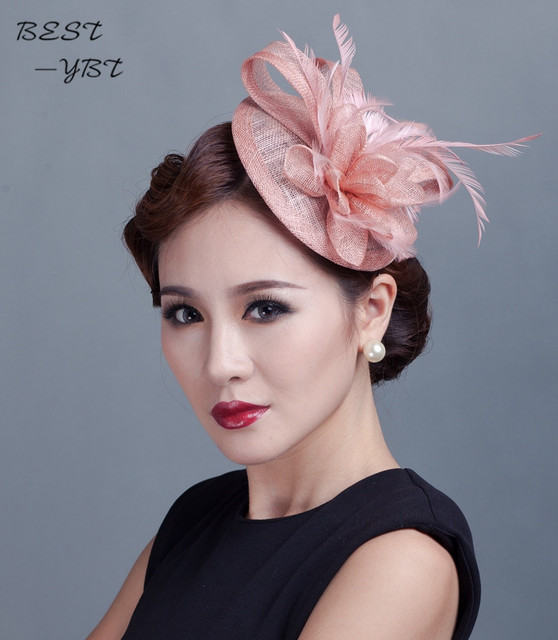 Sinamay Hat Fascinator Feather Flower Hair Clip Wedding Hats And Fascinators Bridal Acessories