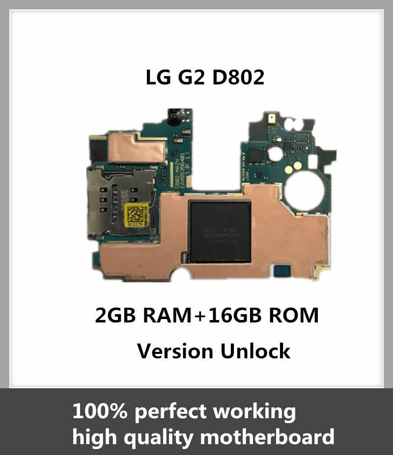 Untuk LG G2 D802 Papan Utama 16 GB Unlocked Mainboard dengan Chip Asli Android OS Diinstal Fungsi Penuh Logic Board