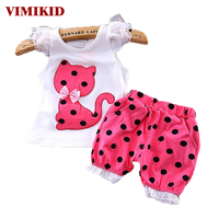2016 Summer Korean Baby Girls Clothing Set Children Bow Cat Shirt Shorts Suit 2pcs Kids Polka
