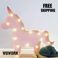 3d Led Channel Letter Metal Marquee Letter Light Unicorn Battery Lamp For Baby Room Backdrop Night