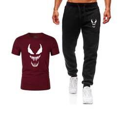 Новые мужские комплекты футболки + брюки Мужская брендовая одежда костюм из двух предметов спортивный костюм модные повседневные футболки