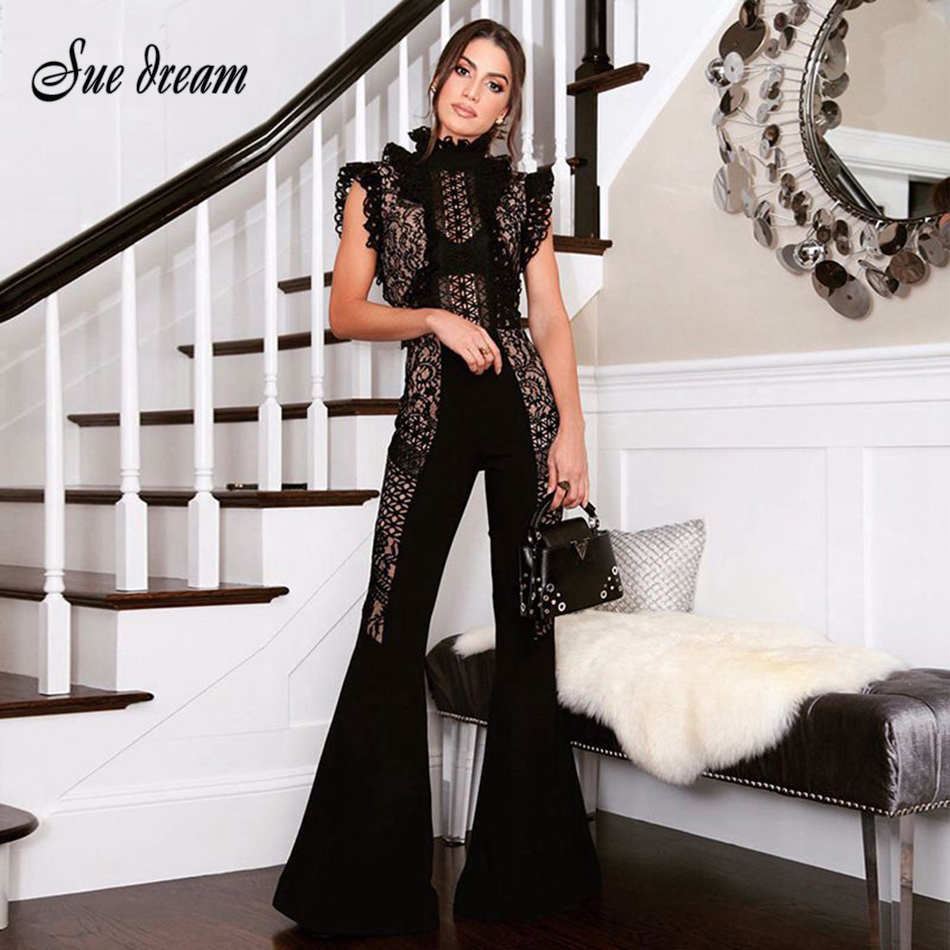 2018 new women's jacket jumpsuit black high collar bandage sexy summer jumpsuit sleeveless lace rayon bandage overalls wholesale