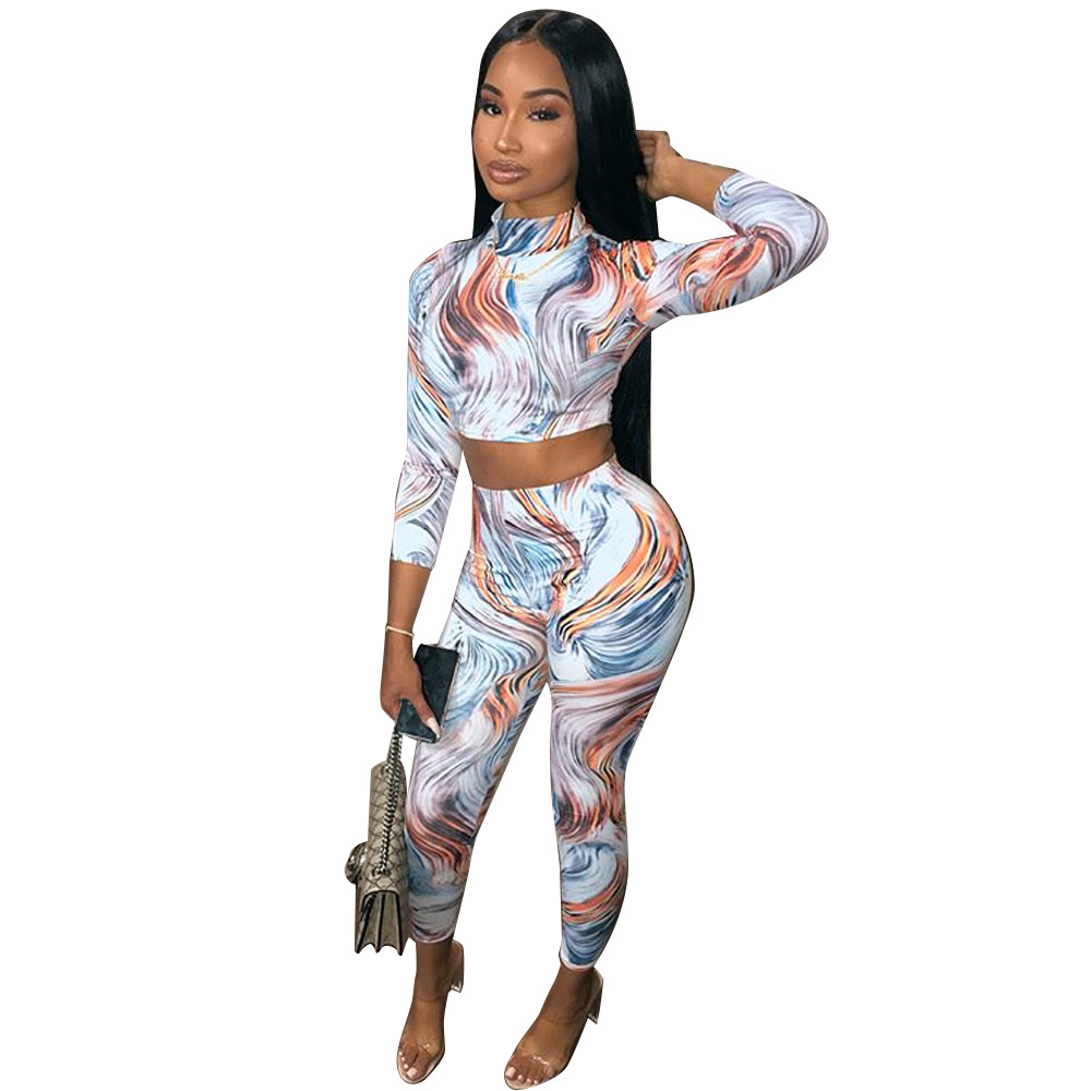 Sexy Print Skinny Women Set Casual Long Sleeve O Neck Crop Top Zipper With Long Pant Women Set Bodycon Suit Female Two Piece Set