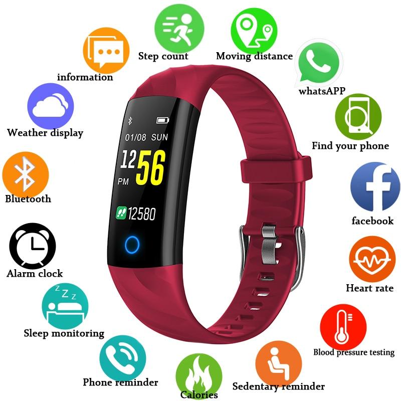 BANGWEI bracelet connecté La Pression Artérielle moniteur de fréquence cardiaque traqueur de remise en forme Multifonction couleur del Écran Horloge Bracelet À Puce