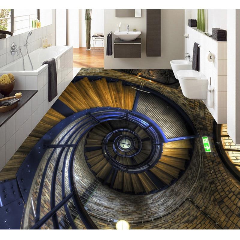 Buy 3d wood stairs photo floor painting - Waterproof floor paint for bathrooms ...
