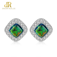 DR Authentic 925 Sterling Silver Fashion Jewelry Stud Earrings for Women Rhombus Shape Trendy Design Bohemian Opal