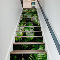 13pcs/set Green Leaves 3D PVC Stair Stickers Waterproof Self adhesive Removable Wall Floor Stickers Home Decoraction 18*100cm