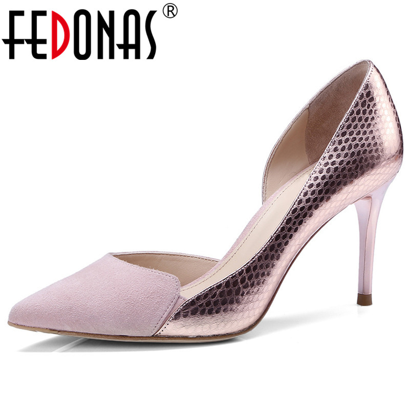 FEDONAS Euro Style Women Genuine Leather Thin High Heels Party Wedding Shoes Woman Sexy Pointed Toe