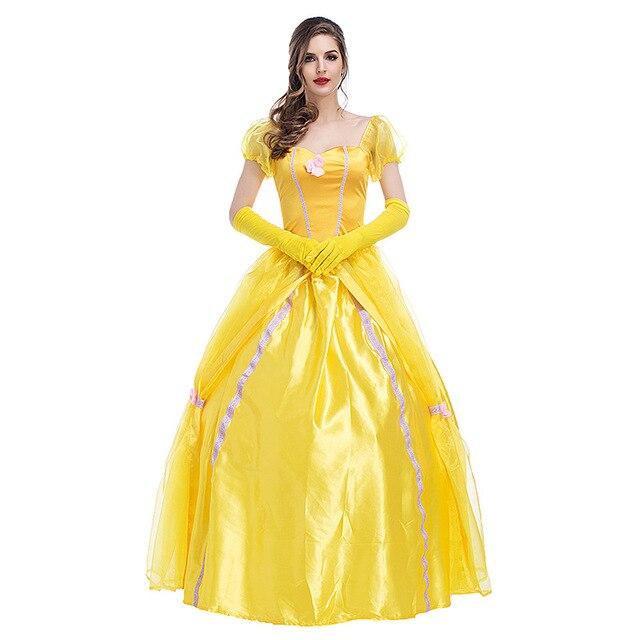 Fabuleux Beauté Et La Bête Princesse Belle Robe Jaune Adulte Princesse #YK_19