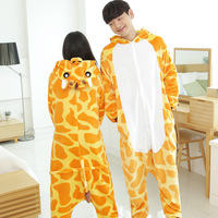 Couple Pajama Sets Cute Animal Giraffe Flannel Sleepwear Hooded Long Sleeve Pajamas Sets Adults Winter Pyjamas