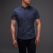 New Easy Care Slim Fit Polka Dot 100% Cotton Casual Shirt Mens Social Dress Shirt Short Sleeve Turn Down Collar Standard US Size