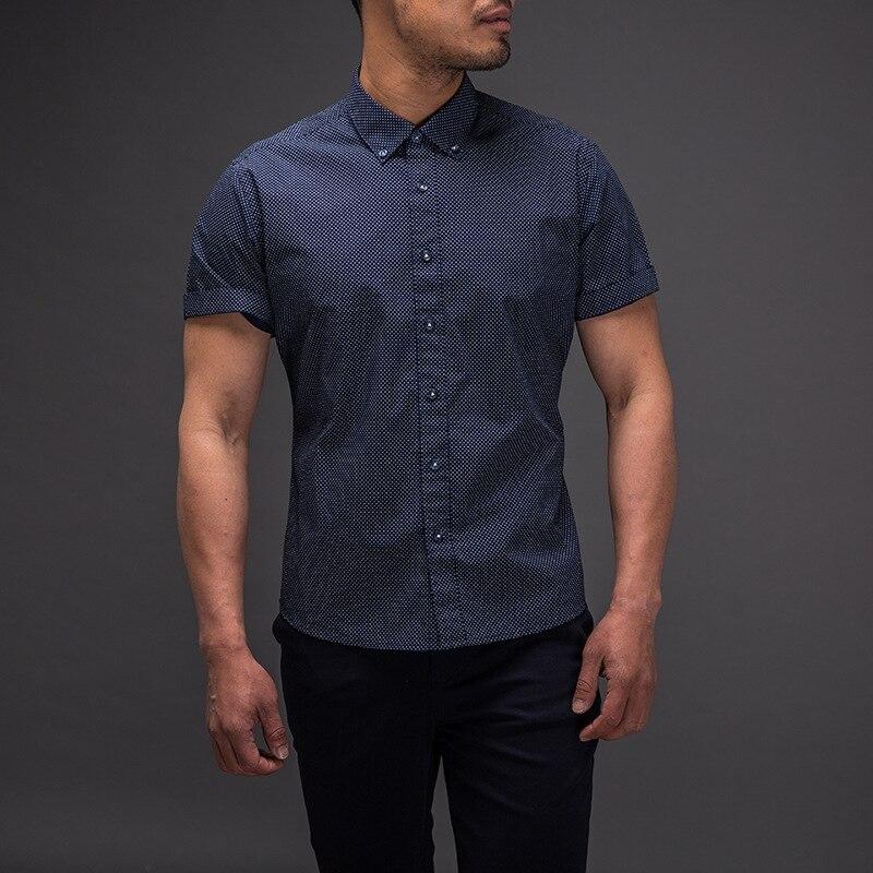 11980b5a64 Novo Cuidado Fácil Slim Fit Polka Dot 100% Algodão Camisa Ocasional Mens  Camisa de Vestido Social de Manga Curta Turn Down Collar Padrão DOS EUA  tamanho