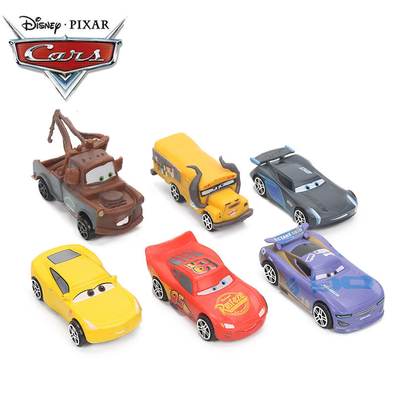 7CM 6pcs/lot Disney Pixar Cars 3 Lightning McQueen Mater Jackson Storm Ramirez 1:55 Diecast ABS Car Model Toy Gift For Boys