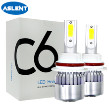 ASLENT C6 2PCS Car Headlights Bulb LED H7 H4 H11 H8 H9 H1 H3 H13 880 9004 9005 9006 9007 9003 HB3 HB4 H27 Auto Fog light
