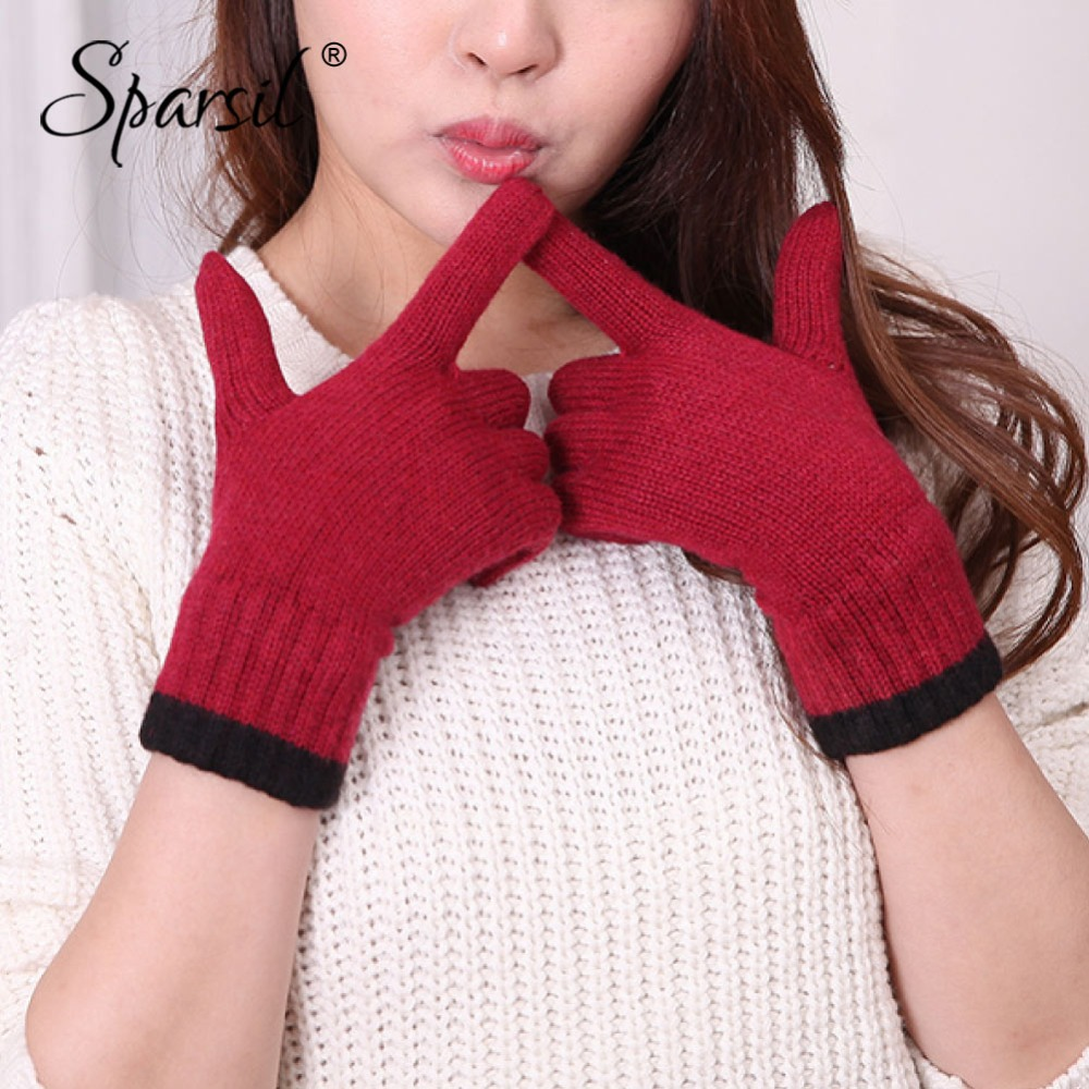 Sparsil Women Autumn Winter Full Finger Cashmere Gloves Wrist Wrap Hand Warmer Knit Wool Glove Female Soft Short Mittens