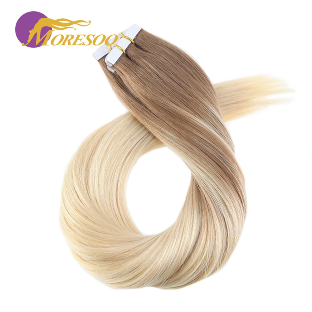 Moresoo 14-24 Inch Tape In Hair Extensions Human Hair Balayage Blonde Color Remy Skin Weft Hair Extensions 2.5g/pcs 25g-100g