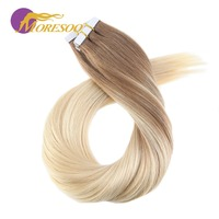 Moresoo Tape in Hair Extensions Human Hair Brown and Blonde Omber Balayage Remy Tape Hair Extensions 20PCS 50G
