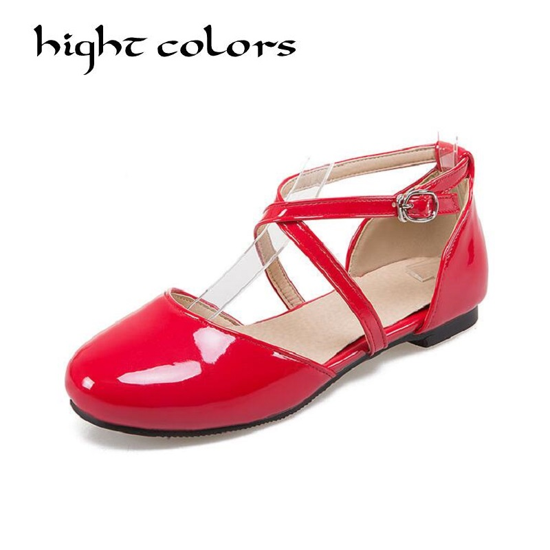 Summer Patent Leather Girls Cute Princess Sweet Shoes Cross Strappy Lolita Casual Flat Shoes For Women Ladies Large Size 34-43