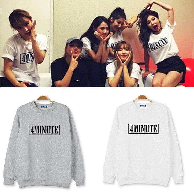 Men Women kpop album 4 m 4 minutes 7 mv same act print or hate hyuna neck sweatshirt fashin same hooded Sweatshirts lovers