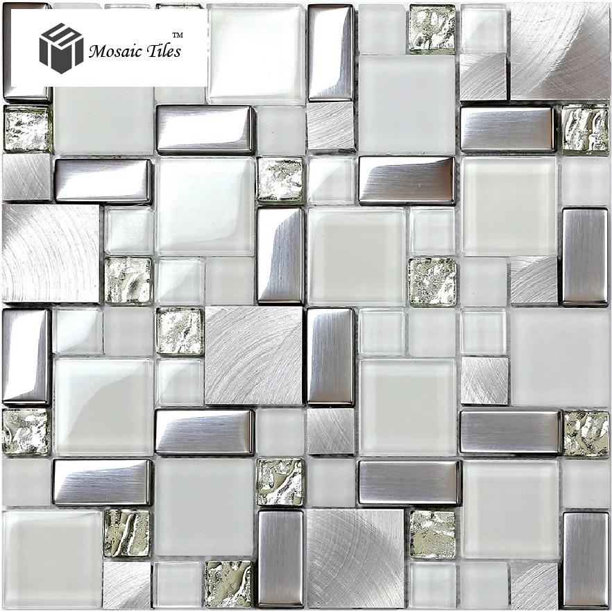 Super White Glass Glitter Mosaic Tile Metallic Kitchen Backsplash Design Fireplace Bathroom Shower Wall Ideas Hotel Luxury Deco Design Mosaic Tile Mosaic Tiledesign Kitchen Backsplash Aliexpress
