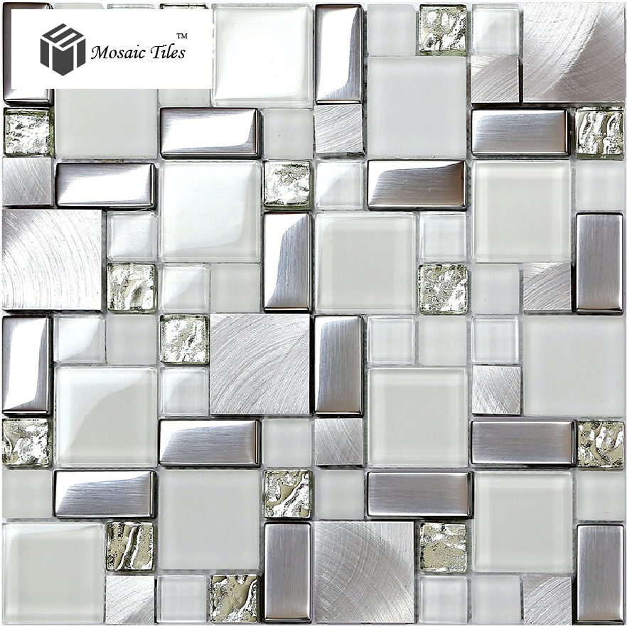 super white glass glitter mosaic tile metallic kitchen backsplash design fireplace bathroom shower wall ideas hotel
