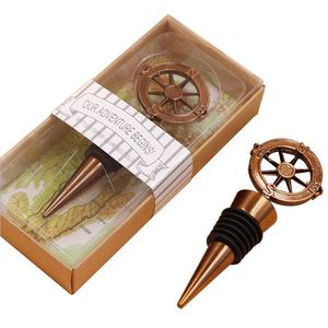 Image 4 - 10pcs Metal Wine Bottle Stoppers Travel Theme Wedding Guests Gift Stopper Compass Wedding Souvenirs Wine Accessories