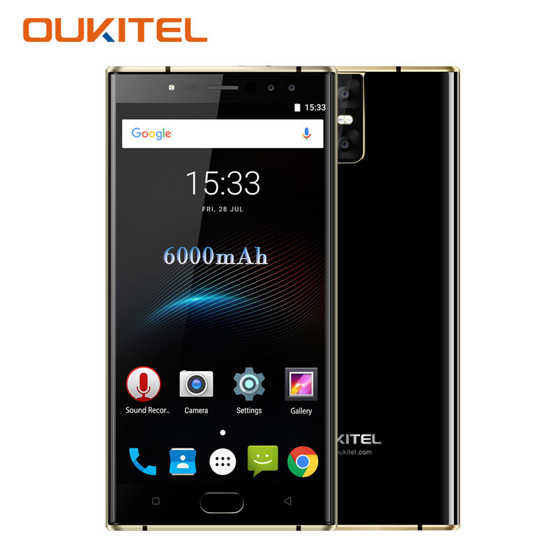 Oukitel K3 5.5'' MT6750T Octa Core 4GB+64GB Dual 2.5D Screen 4 Cameras 16MP+2MP 6000mAh Front Android 7.0 Fingerprint Smartphone
