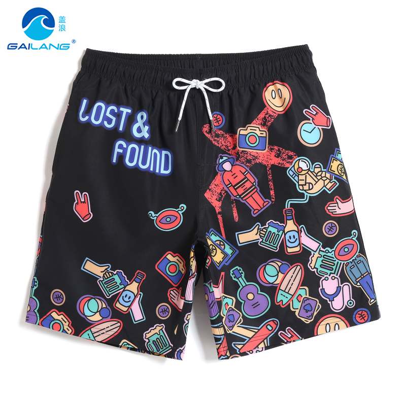Board shorts Men's Swimming trunks quick dry surfing swimsuit hawaiian beach shorts joggers plavky tropical briefs mesh