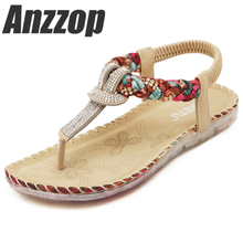 2019 Summer Sandals Women T-strap Flip Flops Thong Sandals Designer Elastic Band Ladies Gladiator Sandal Shoes Zapatos Mujer