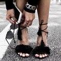 2016 borla franja camurça sandálias Lace Up tornozelo tiras de salto alto sapatos de casamento sandálias frete grátis