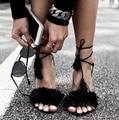 2016 marca Tassel Fringe Suede mujeres Sandalias zapatos de cordones tobillo sandalia tacones altos fiesta zapatos de boda mujer Sandalias envío gratis