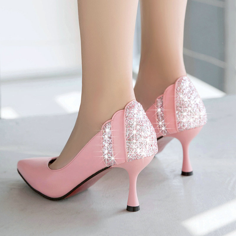 Fashion Women High Heels Prom Wedding Shoes Lady Back Crystal Platforms Glitter Rhinestone Bridal Shoes Thin Heel Party Pump cinderella high heels crystal wedding shoes 14cm thin heel rhinestone bridal shoes round toe formal occasion prom shoes