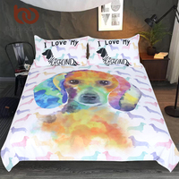 BeddingOutlet Dachshund Bedding Set Kids Cartoon Bed Cover Set Watercolor Pet Dog Duvet Cover Animal Colorful Bedclothes 3 Piece