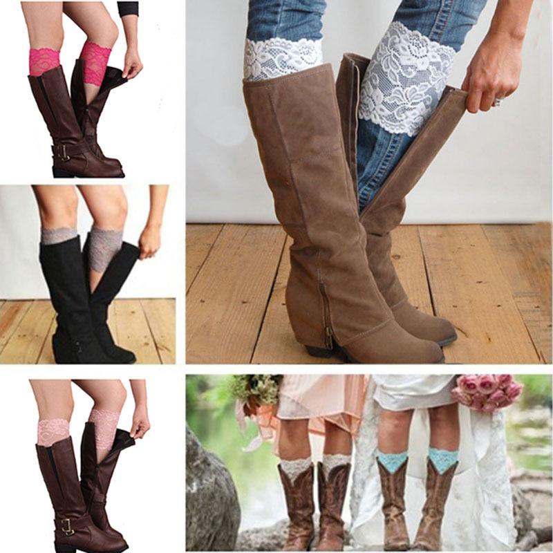 Free Shipping Stretch Lace Boot Cuffs Women GIRLS LEG WARMERS Trim Flower Design Boot Socks Knee