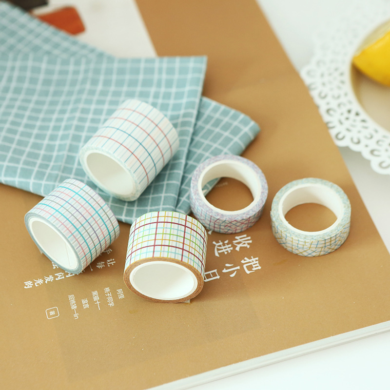 1 Pcs Plaid 7M Washi Tape Children Kawaii DIY Diary Decor Masking Tape Stationery Scrapbook Tool Free Shipping JD43