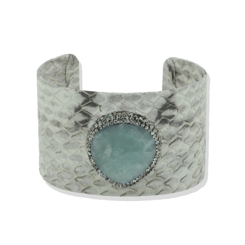 1pc Attractive Design Snakeskin Leather Cuff Bangle High Quality Paved Rhinestone Cuff Bangle Statement for Women