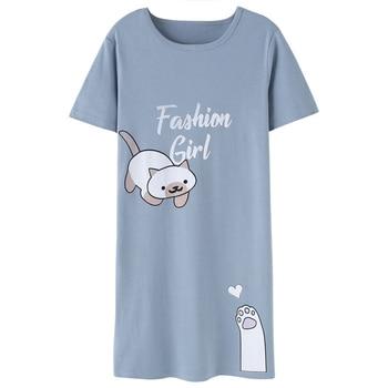 b42a60fac Primavera de dibujos animados lindo camisón de moda de las mujeres de manga  corta cuello redondo Mini dormir vestidos de verano elegante dama casa  vestido