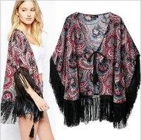 Kimono Cardigan 2014 Fashion Women Summer Spring Shirts European Style Tassle Blouse Paisley Print Blusas De
