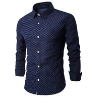 Brand New Men's Plum Flower Spot Casual Shirt Social Solid Color Shirt Full Sleeve Turn Down Collar