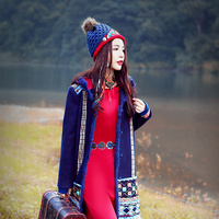 Faye's store ancient national wind women's embroidered coat autumn winter cloak with caps fur coat