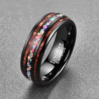 Nuncad 2019 Personality Vintage Colorful Koa Wood Opal Tungsten Carbide Men's Ring T097R Size 6 14