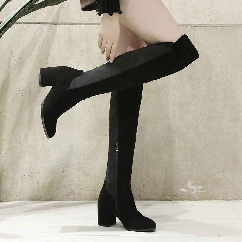 Knee High Boots British Style Sexy Women' s Shoes Nubuck Leather Leisure Lady Booties Luxury Comfort Heeled Female Winter Shoes british style women s knee high boots with solid color and ruffle design