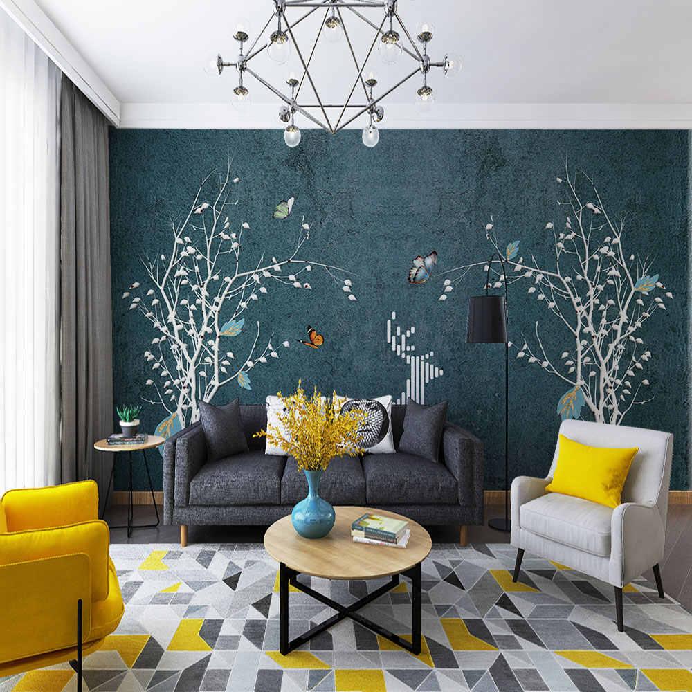 3d wallpaper Nordic abstract modern beautiful gold foil green background wall customization waterproof wall covering.jpg q50