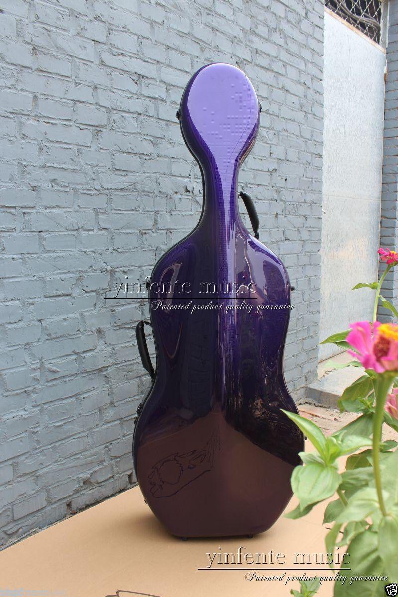 4/4 nouveau étui pour violoncelle étui rigide en Fiber de carbone violet nouveau boîtier pour violoncelle à lumière forte pièces et accessoires pour violoncelle - 2