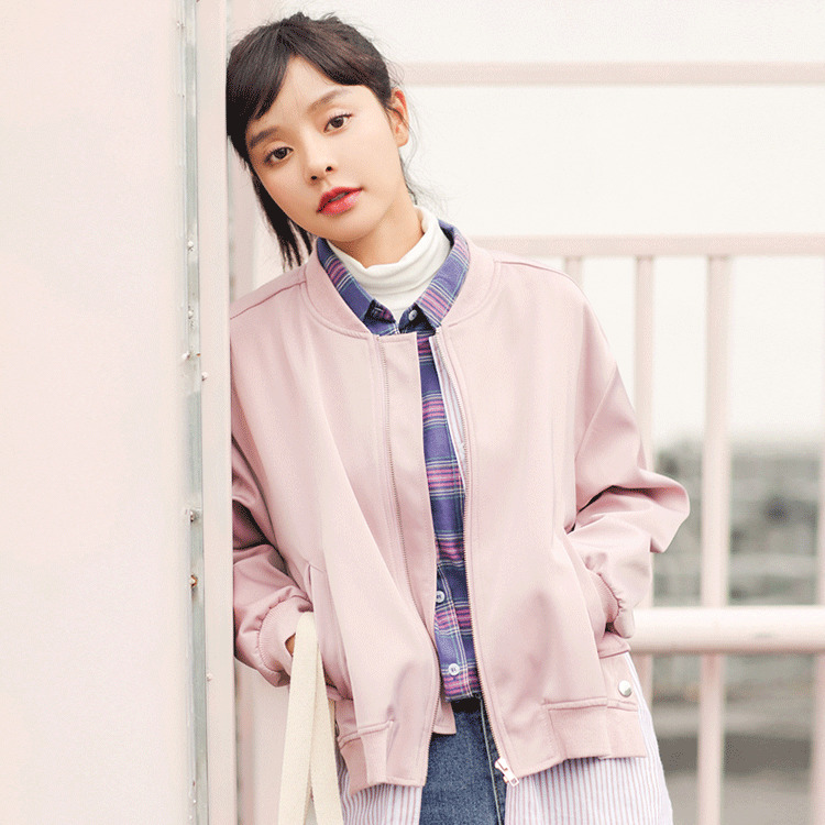 Casaco Feminino 2018 Spring New Pattern Korean School Wind Concise Easy False Two Paper Loose Coat Schoolgirl Baseball Serve