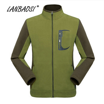 LANBAOSI New Men's fleece Jacket Windproof Hooded Warm Men Outerwear Coat Clothes for Outdoor Sports Climbing Hiking Camping