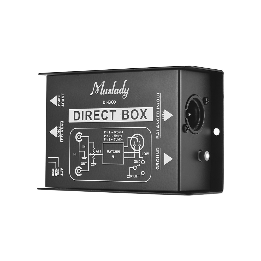 Muslady Professional Single Channel Passive DI Box Direct Injection Audio Box Balanced & Unbalance Signal Converter-in Guitar Parts & Accessories from Sports & Entertainment