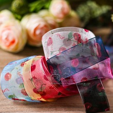 100yards 16/25/40mm printed cherry organza sheer ribbon for children kids hair bow clip head band accessories handcraft supplies